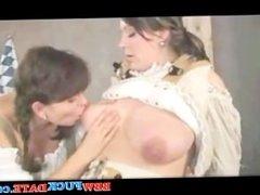 Lesbians sucking milk from tits