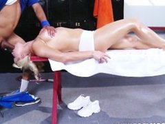 Anikka Albrite is given a sensual massage in the locker room