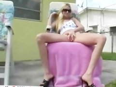 Blonde slut plays with her cunt