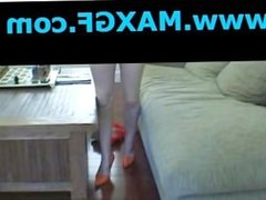 Blonde Tattoo Girl Amazing Handjob Stripping High Heel Girlfriend