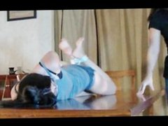 Tied Girl got her Feet Licked and Tickled