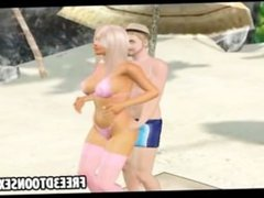 3d cartoon couple dances at the beach and feel each other