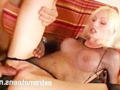 Double Anal Blonde Takes Two Cocks and Dildo In Her Ass