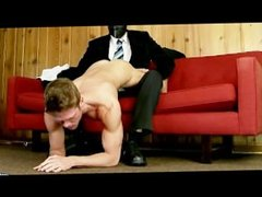 Hot naked gay young guy man handled by masked gay guy with cock play