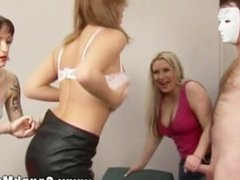 FEMDOM skanks collecting jizz on friends hot body