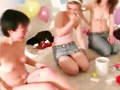 Lesbian amateurs getting naked at sex party