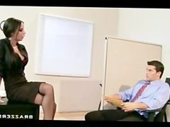 BIG TIT BRUNETTE SLUT BOSS ANAL DP FUCK BIG DICKS IN OFFICE