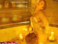 Aria Giovanni and Sunny Leone Lesbian Bubble Bath