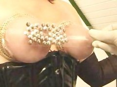 Tits torture with drawing pins and play with pee hole