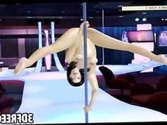 3D hot brunette stripper shows poses on her pole