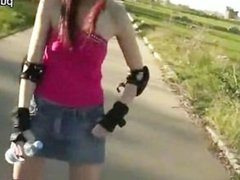 Hot skatergirl one night stand in public
