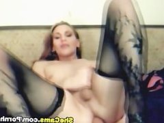 Gorgeous Transexual Strokes Her Stiff Cock