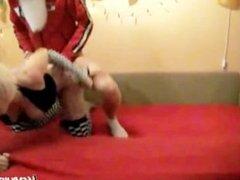Santa punished naughty babe