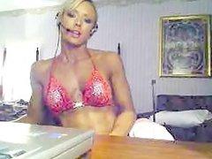 Beautiful Blonde in red Bikini flexing And Posing 04
