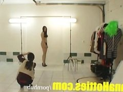 Sexy amateur does striptease at the casting