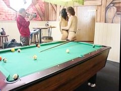 A very interesting game of pool