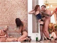 Horny girls fucking in a horny group sex scene