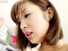 Asian woman in pantyhouse fucks in office