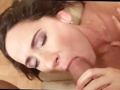 Crazy babe pleasuring a cock with her lips