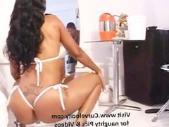 juicy bubble butt ebony babe bouncing her ass cheeks on her bed oiled up