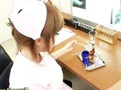 Asian nurse handjob and cumshot action