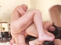 tattooed girl bouncing on top of a dick