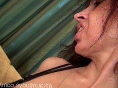 Milf Karolina masturbates her mature pussy