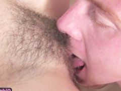 Sexy amateur redhead gets her hairy pussy licked