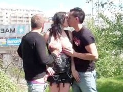 Public orgy with a pregnant girl