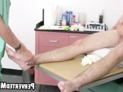 Hot doctor rubs down the twink patients big hard on