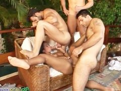 Brazilian babe gets three cocks hard and cumshot load