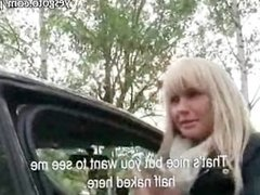 Pretty amateur blonde Czech girl railed in the backseat by stranger