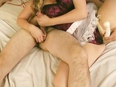 Babe in Lingerie Stroking Cock n' Playing With Her Puss