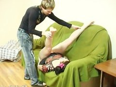 Flexible doll gets dildo hard in her shaved pussy deep