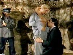 Blonde prisoner getting DP for her sins