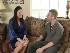Hot brunette babe gives soapy massage