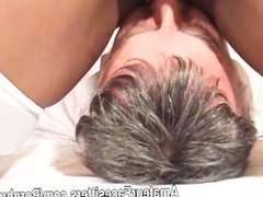 Black lady with long nipples and shaven pussy facesits an old man