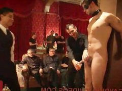 Gay fucked and flogged and pissed on in public