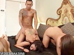 AMWF Latina Breanne Benson Gracie Glam interracial orgy with Asian guy