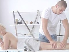 On the massage table they have erotic sex