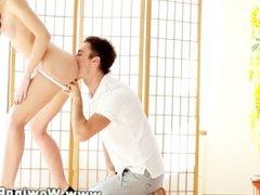 Young petite teen babe has sexual fun