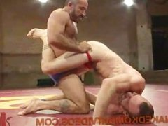 Gay wrestling match with stripping off shorts