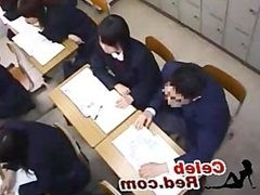 Japanese Teens Makes Love Vith Hands In Classroom