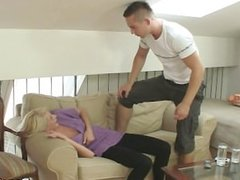 Blonde slut rides his angry cock
