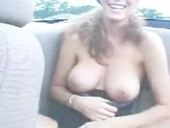 Flashing Tits in Backseat of Convertible