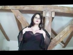 Fat girl smokes and show big tits