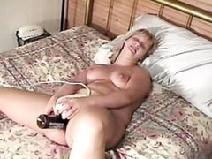 Cute Plump Chick Talks Beer Bottles and Cock