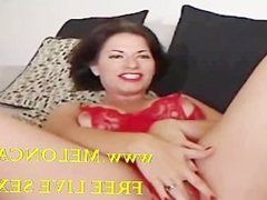 Busty milf strokes her pussy and reaches orgasm on webcam!