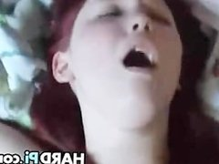 Chubby redhead with large breasts gets rammed