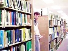 Guy Stroking in College Library